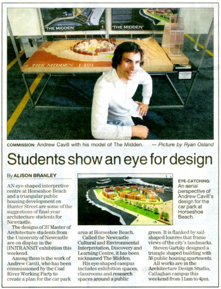 Students show an eye for design - Andrew Cavill's 'Midden' is launched