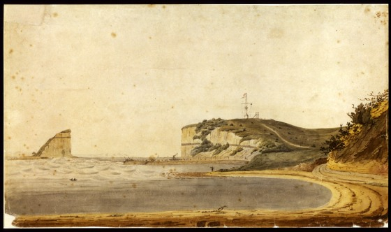 Nobby's Island and Pier 23 January 1820 (Anonymous artist) Courtesy of the Mitchell Library