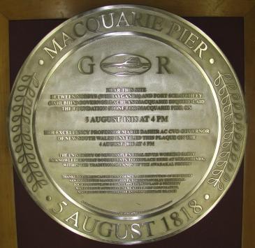 Macquarie Pier Commemorative Bronze Plaque