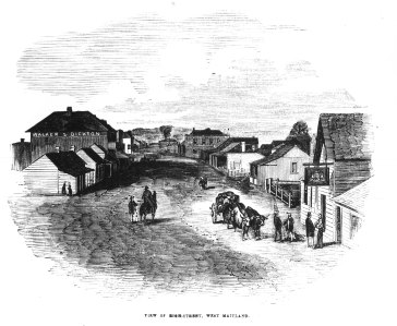 View of High Street, West Maitland, Engraving from The Illustrated Sydney News 31 March 1855 page 142