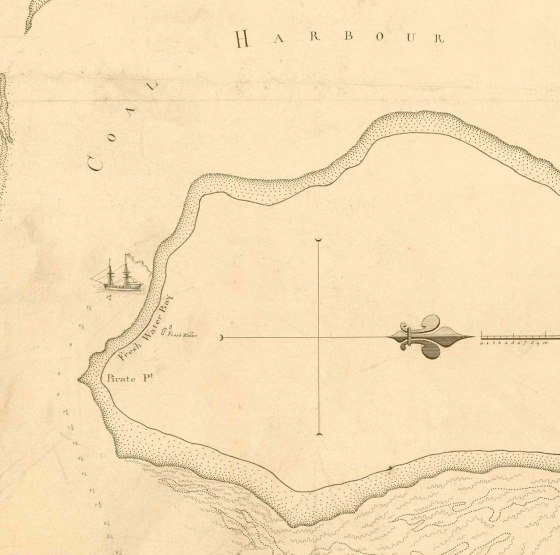 "Fresh Water Bay (Stockton) from Ensign Francis Barrallier's Chart of ""Coal Harbour and Rivers."" 1801"