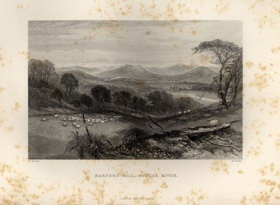 "Plate ""Harpers Hill, Hunter River"" S Prout H. Bibby facing page 128 from Australia by Edwin Carton Booth, F R. C. I. Illustrated with Drawings by Skinner Prout, N. Chevalier, &c. &c. In Two Volumes Vol. II London Virtue and Company Limited (1873-1876)."