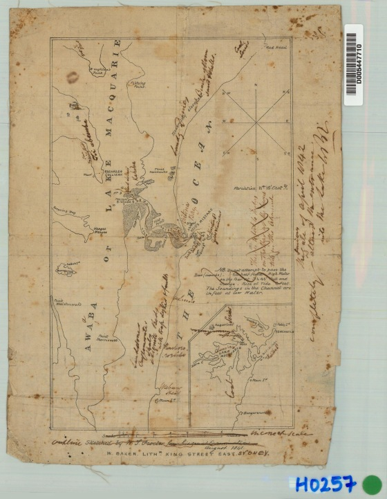 Heritage Map of Lake Macquarie or Awaba with geological locations