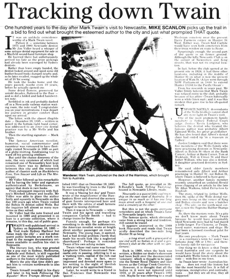 "Mike Scanlon ""Tracking Down Twain"" Newcastle Herald 19th December 1995 p.6"