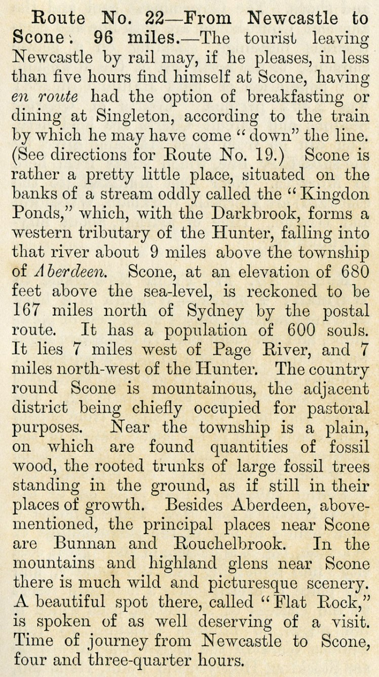 Route 22 - Newcastle to Scone - The Railway Guide to New South Wales 3rd Ed. 1886 p.19