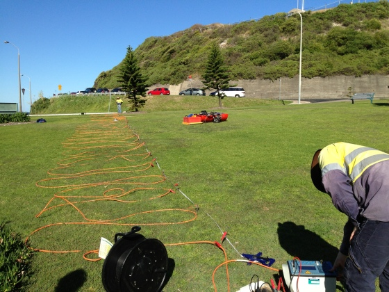 Preparing the Electrical Resistivity Tomography (ERT) test (Photo: Gionni Di Gravio)
