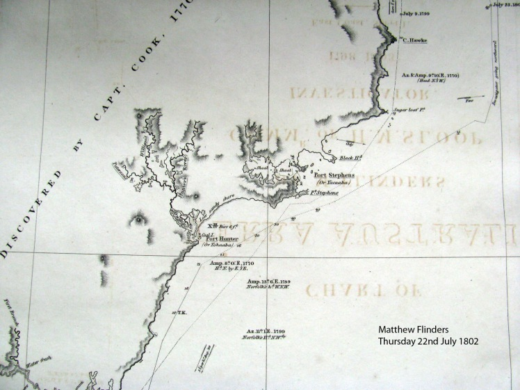 Section of Matthew Flinders' Chart noting the Aboriginal names in the vicinity of Newcastle and Port Stephens on his journeys in 1802