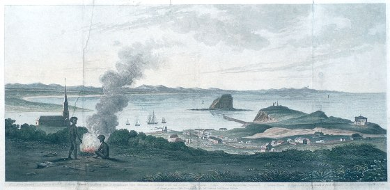 A View of King's Town by Joseph Cross (1828) Hand Coloured. (Photographed by Bruce Turnbull. Courtesy of the Newcastle Art Gallery)