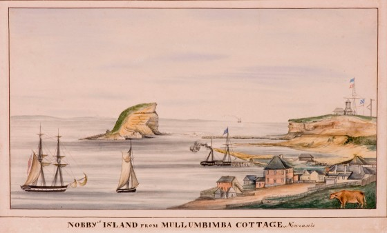 Nobby's Island from Mullumbimba Cottage, (c.1830) Courtesy of the Newcastle Art Gallery)