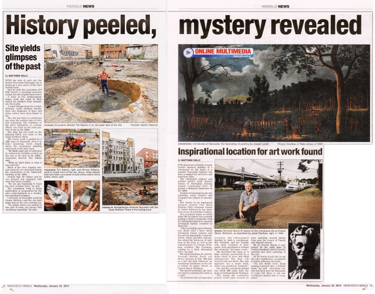 """History peeled. mystery revealed"" by Matthew Kelly Newcastle Herald 22nd January 2014 pages 2-3"