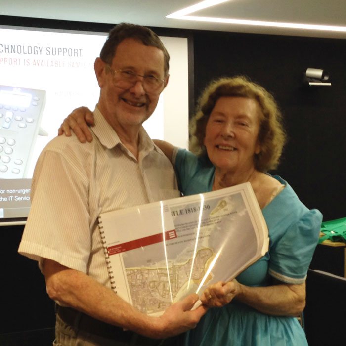 Charles Martin with Vera Deacon and copy of presentation, 3rd February 2014.