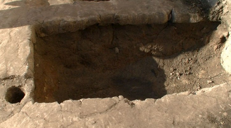 Trench at rear of site that held the remains of a complete baby cow.
