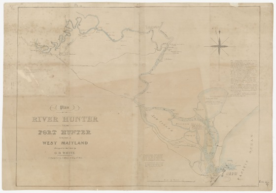 Possibly earliest rendering of Scott's Home on Plan of River Hunter from Port Hunter to falls at West Maitland by G.B. White Surveyor (Courtesy of the State Library NSW)