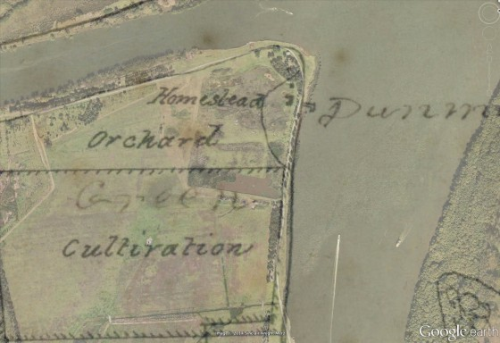Closeup of 1864 plan overlay 2014 in Google Earth by Gionni Di Gravio showing position of where homestead and wharf once stood.