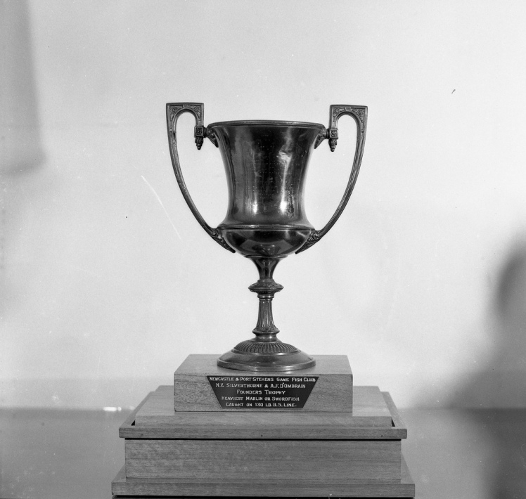 Newcastle and Port Stephens Game Fishing Club Founders Trophy for the biggest marlin caught on 130lb breaking strain line (D'Ombrain and Silverthorn were the founders of the club)