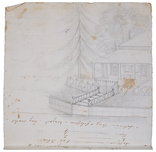 Proposed Italianate entrance to home and view of residence c1840s (Courtesy of The Australian Museum)