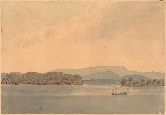 [Untitled] Lake Macquarie? - watercolour by Edward Charles Close (1844) Courtesy of the State Library of NSW