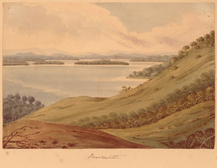 Newcastle - watercolour by Edward Charles Close (1844) Courtesy of the State Library of NSW