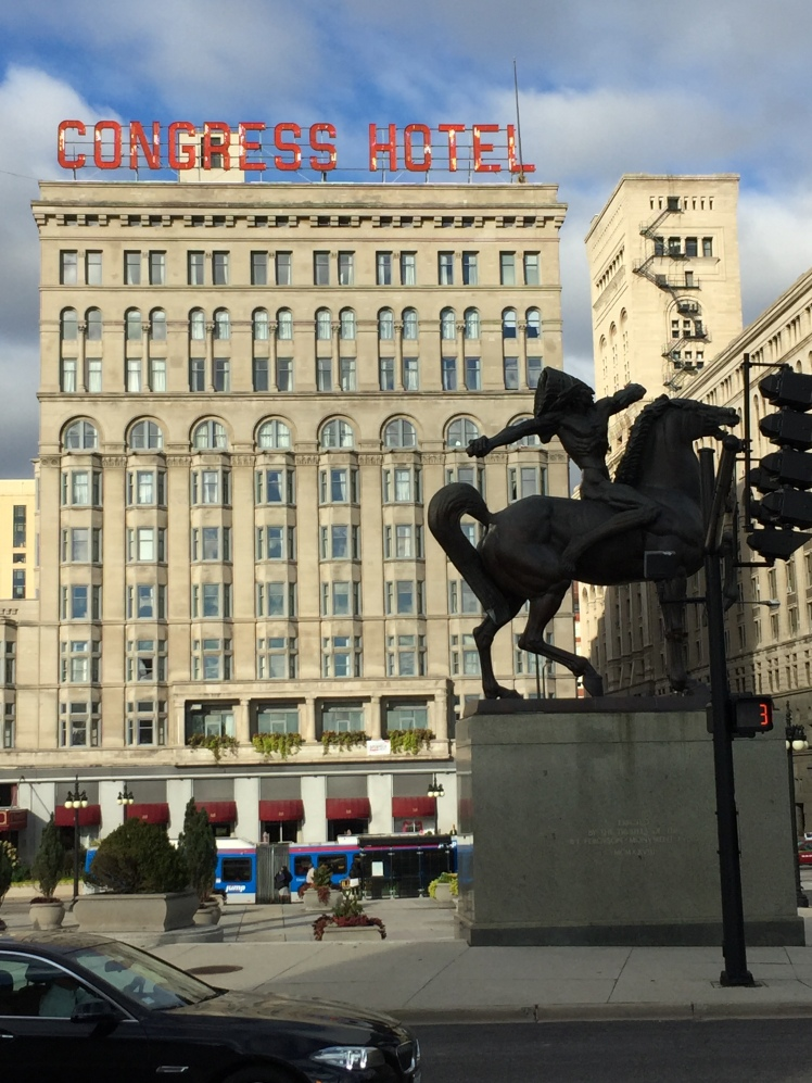 Bronze of Indian Brave on Horseback in close poximity to South Michigan Avenue