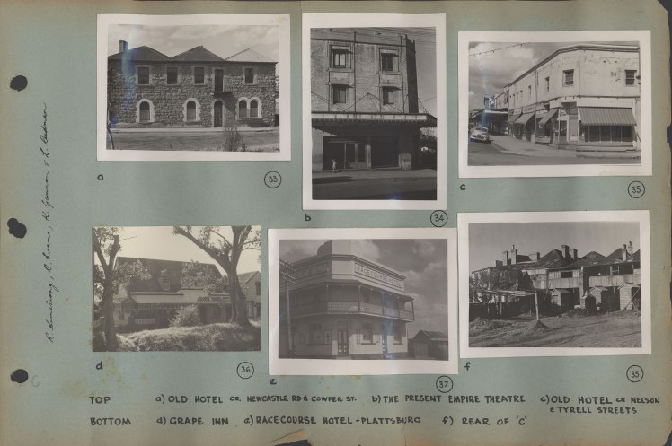 Sample page of photographs showing Old Hotels, Empire Theatre, Grape Inn and Racecourse Hotel