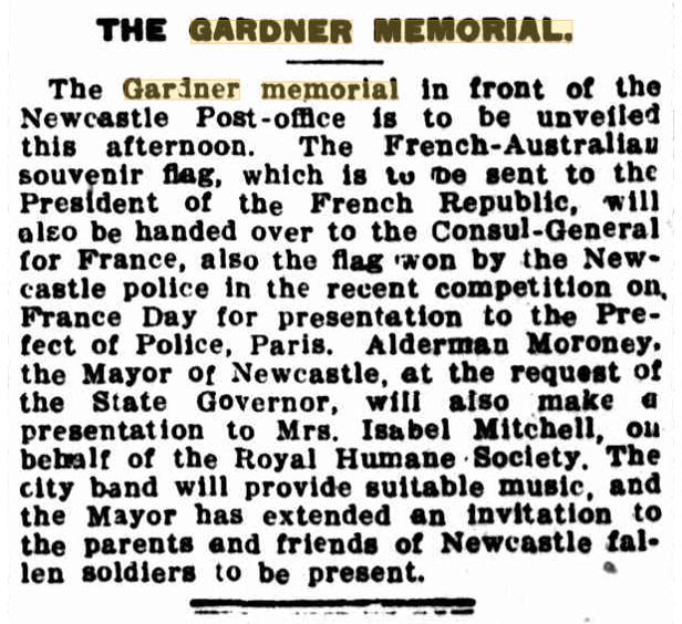 """""""The Gardner Memorial' Newcastle Herald 16 September 1916"""