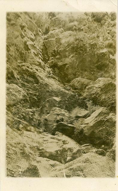Waterfall near Moonan Flat. Postcard sent by Evelyn Simpson, Moonan Flat, to Mr F.R. (Francis Richard) Moore, Public School, Wyong, NSW, 7 Oct [1906]