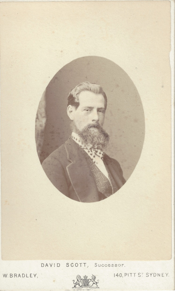 Cecil West Darley, photographed 15 September 1870 by William Bradley Pitt Street Sydney. (Photo Credit: Digitised by Anne Glennie from the Glennie Family Albums)