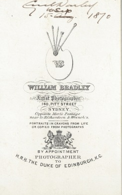 Reverse of Cecil West Darley, photographed 15 September 1870 by William Bradley Pitt Street Sydney. (Photo Credit: Digitised by Anne Glennie from the Glennie Family Albums)