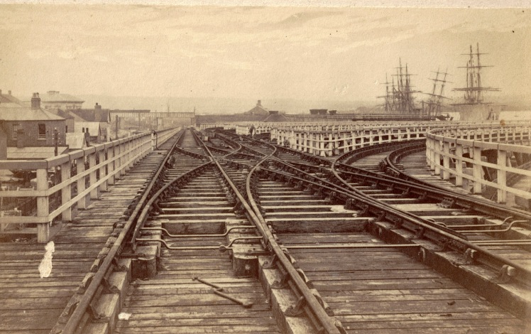 Railway tracks on the Government Staithes Newcastle, circa 22 October 1870 - 1 December 1870 (4) (Photo Credit: Photographed by Beaufoy Merlin No. 58446. Digitised by Anne Glennie from Glennie Family Albums) Click for larger view