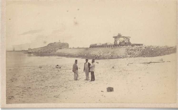 Newcastle Breakwater, circa 22 October 1870 - 1 December 1870 (Photo Credit: Digitised by Anne Glennie from Glennie Family Albums) Click for larger view