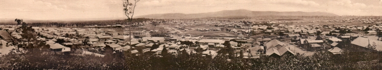 General View, Cessnock No.1, 2, 3 [n.d.] Panorama created by Robert Watson, from three photographs in the archives of the Coalfields Heritage Group, based at the Sir Edgeworth David Memorial Museum at Kurri Kurri.