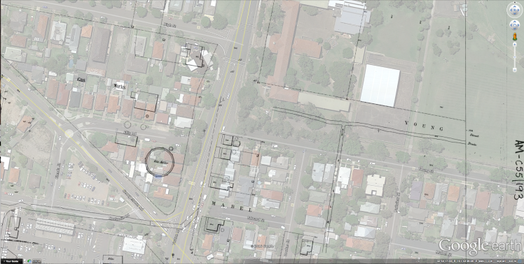 Waratah Gas Works Site overlay in Google Earth 2017
