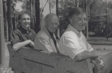 Godfrey, Bernie and Penglase Sitting on bench
