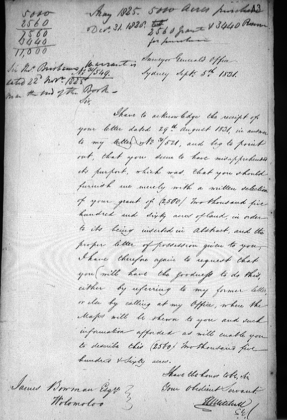 Mitchell wants land 1831